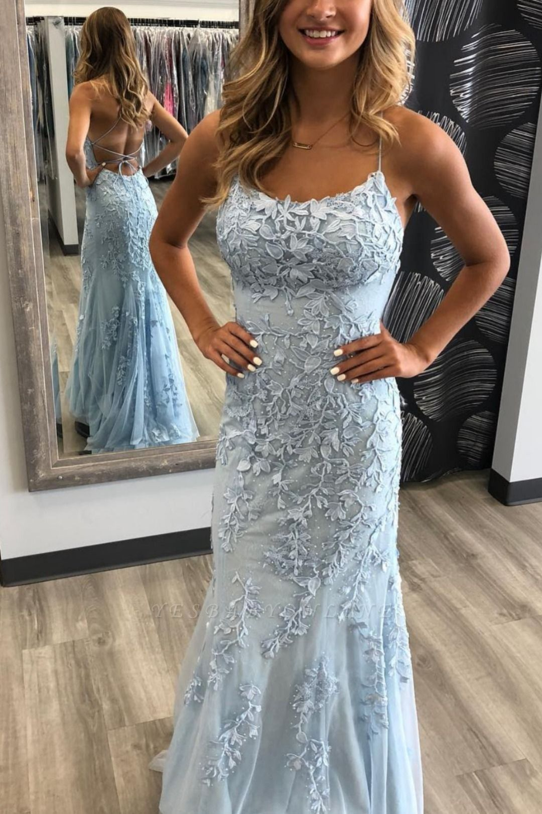 Criss-cross Straps Lace Fitted Long Prom Dresses | Trendy Applique Evening Dresses