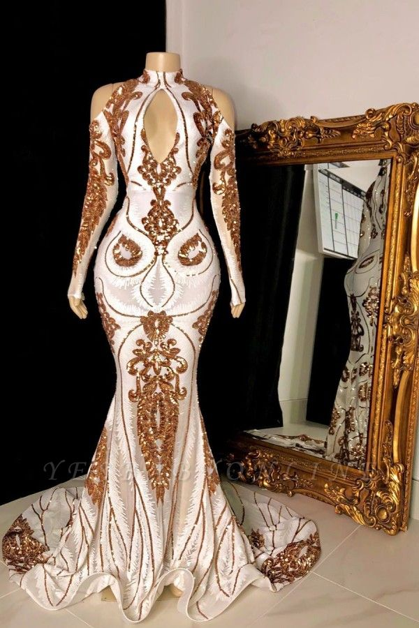 White and Gold High Neck Keyhole Long Sleeves Mermaid Prom Dresses