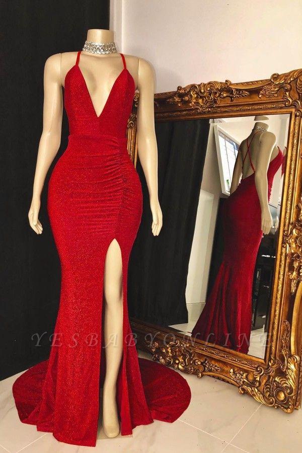 Spaghetti Straps Deep V-neck Thigh Slit Red Long Prom Dresses