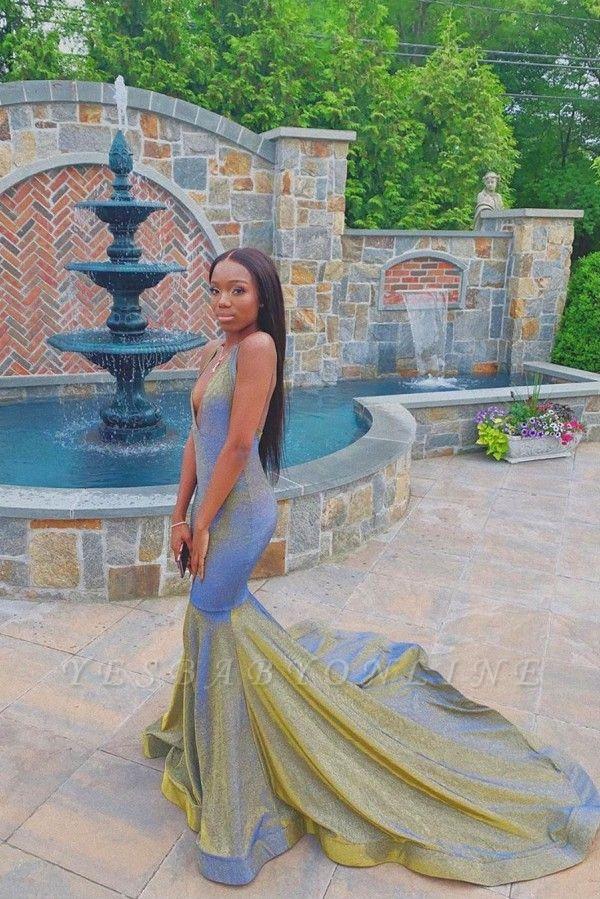 Halter V-neck Floor Length Metallic Mermaid Prom Dresses