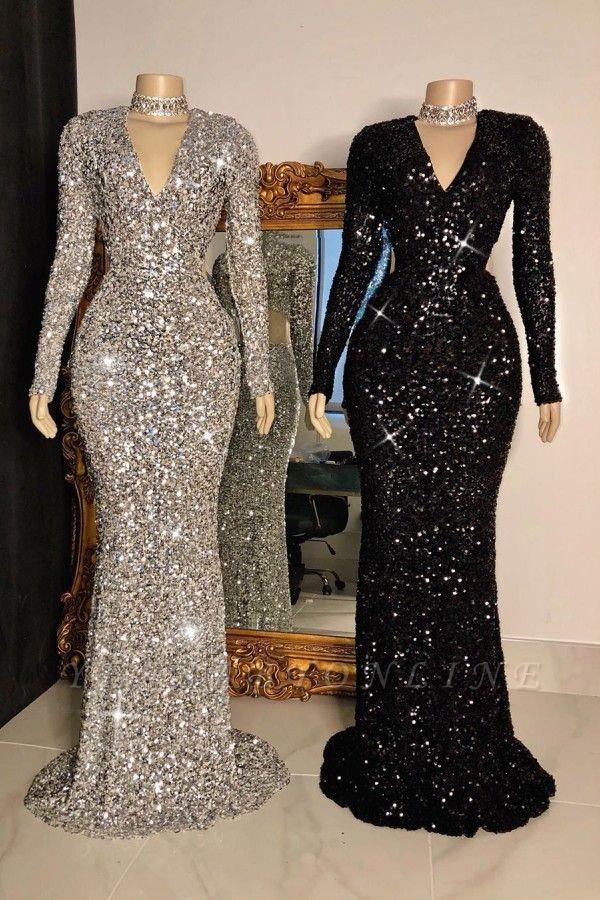 Glitter V-neck Long Sleeves Form-fitting Floor Length Prom Dresses