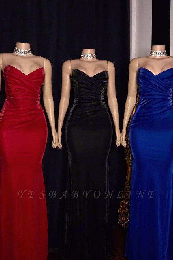 Stiff Strapless Sweetheart Column Floor Length Prom Dresses