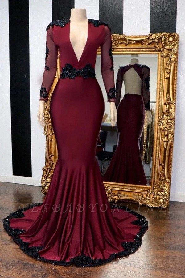 Stylish Mermaid Deep-V-Neck Long-Sleeves Appliques Floor-Length Prom Dresses