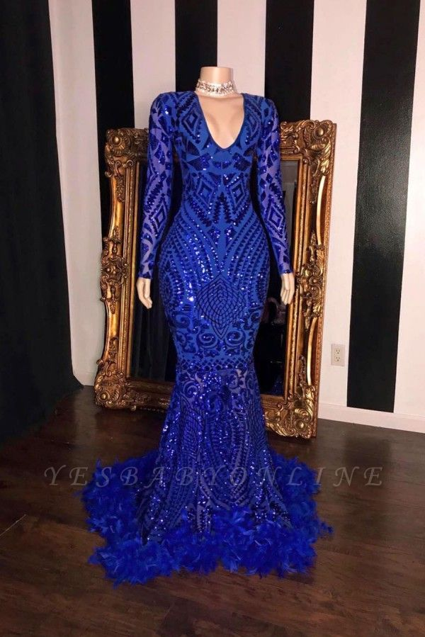 Royal Blue V-neck Long Sleeves Mermaid Long Prom Dresses with Fur
