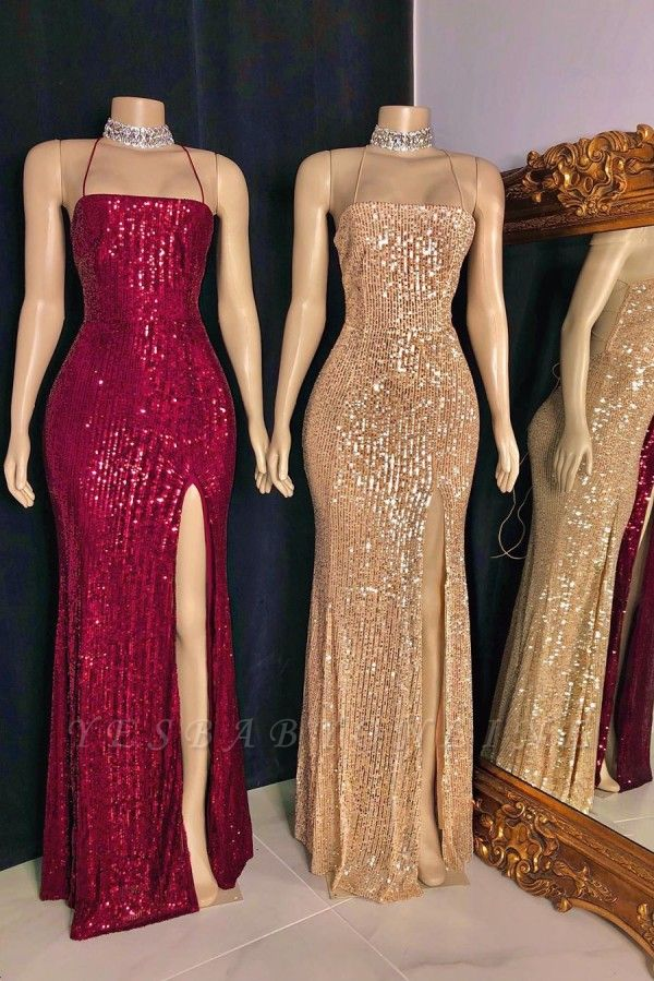 Stylish Spaghetti Straps Sequins Criss-cross Straps Column Prom Dresses
