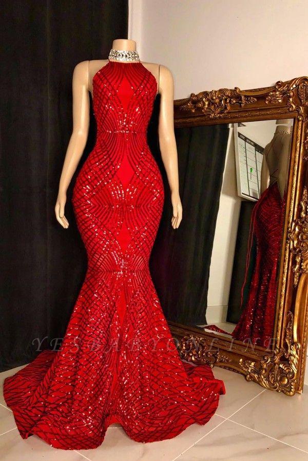 Halter Sleeveless Sequin Mermaid Red Long Prom Dresses