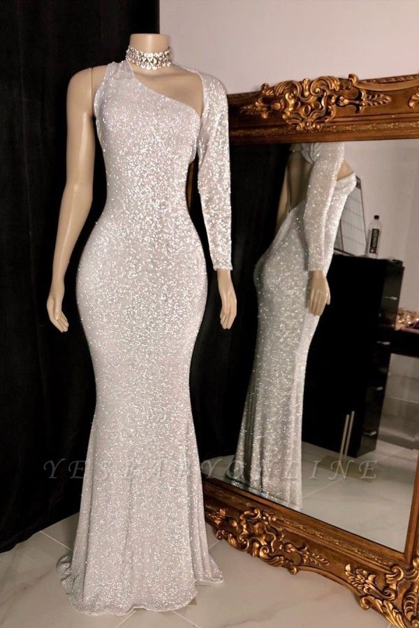 Sparkly One Shoulder Silver Floor Length Column Prom Dresses