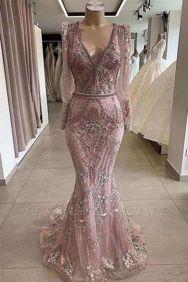 Gorgeous V-neck Long Sleeves Lace Fitted Prom Dresses