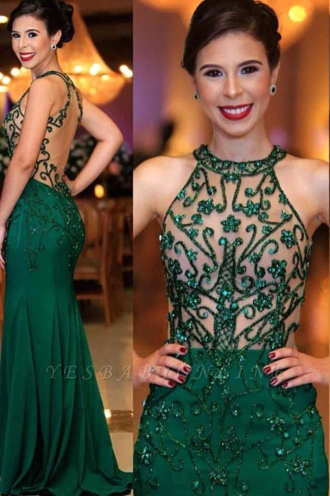 Emerald High Neck Sleeveless Sheer Fitted Prom Dresses