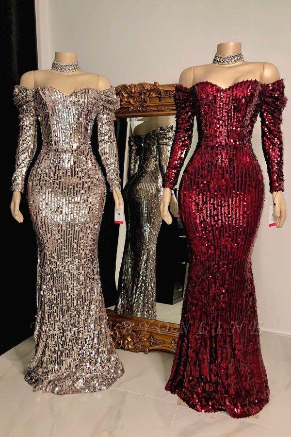Off the Shoulder Long Sleeves Sequin Floor Length Prom Dresses