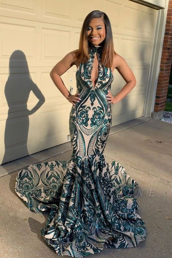 High Neck Keyhole Sleeveless Sequin Mermaid Prom Dresses