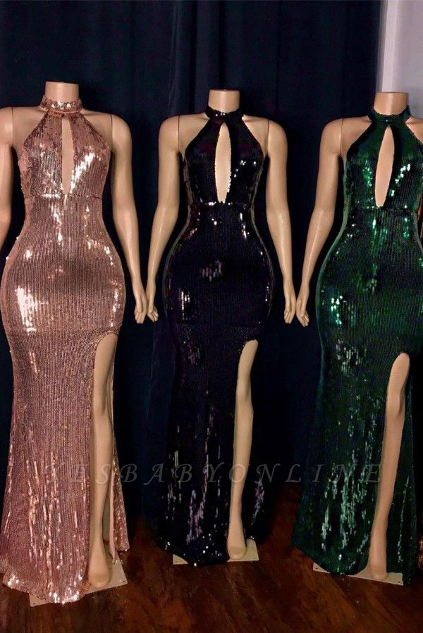 High Neck Heyhole Floor Length Thigh Slit Fitted Sequined Prom Dresses