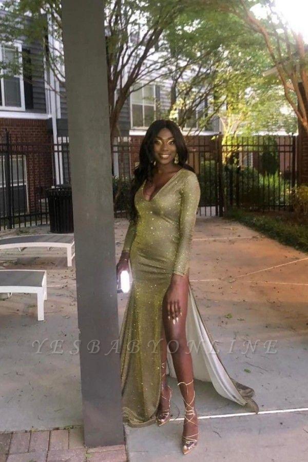 V-neck Long Sleeves Sequins Thigh Split Column Prom Dresses