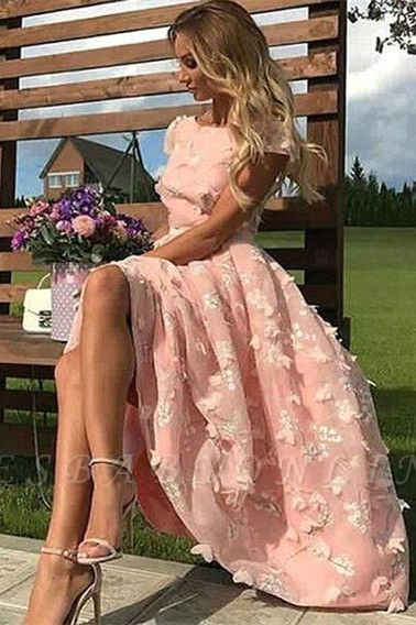 Jewel Short Sleeves A-line Appliques Pink Midi Party Dresses