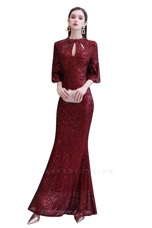 Jewel Keyhole Half Sleeves Floor Length Sequin Burgundy Prom Dresses
