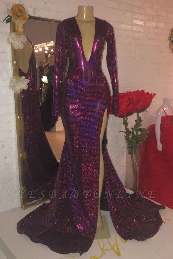 V-neck Long Sleeves Open Back High Slit Fitted Sequin Prom Dresses