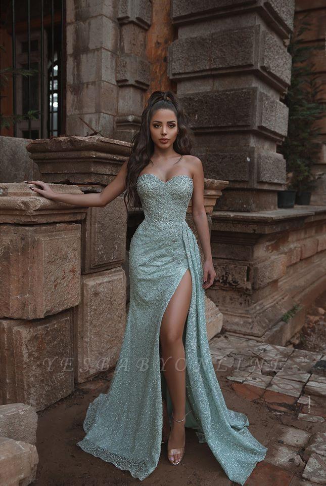 Strapless Sweetheart High Split Floor Length Mint Prom Dresses