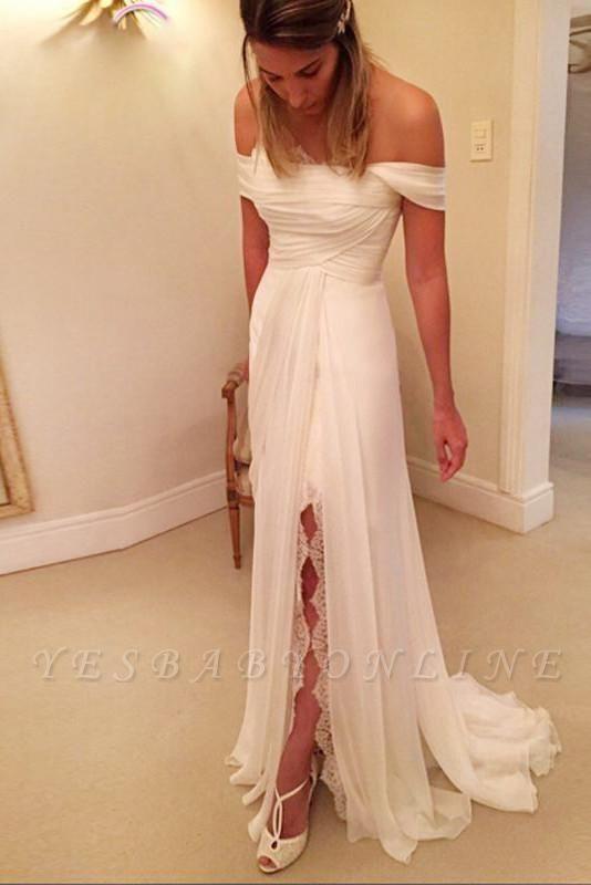 Off The Shoulder Side Slit Beach Wedding Dresses   Backless Sheath Wedding Gown