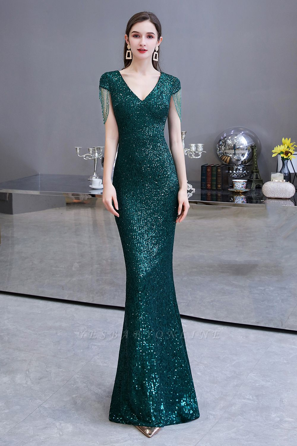 V-neck Cap Sleeves Floor Length Emerald Fitted Sequin Prom Dresses