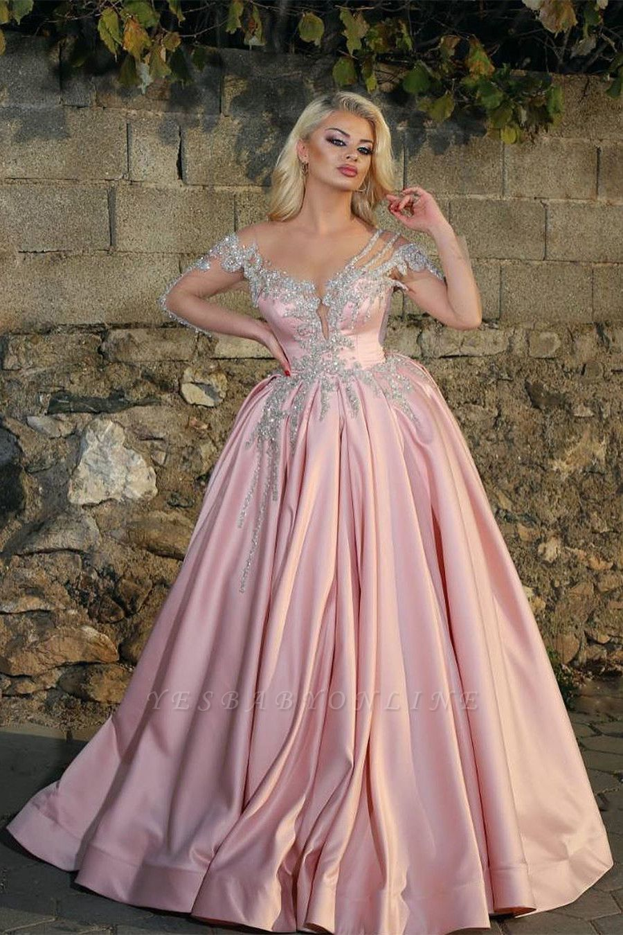 Off the Shoulder Long Sleeves Appliques Pink Ball Gown Prom Dresses