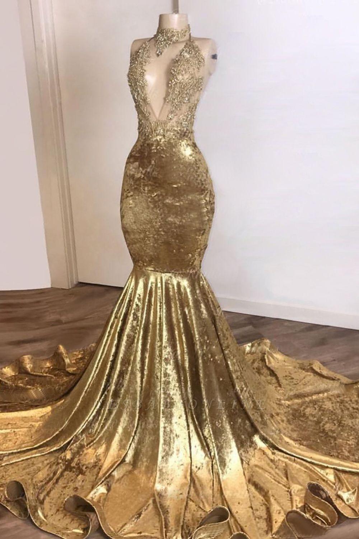 Spaghetti Straps V-neck Appliques Mermaid Velvet Brown Prom Dresses