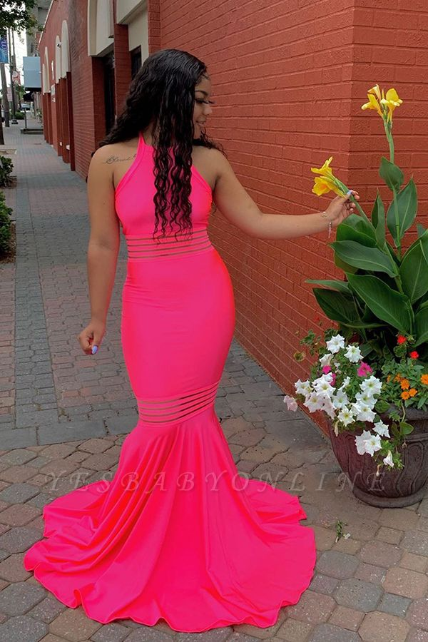 Jewel Sleeveless Fit and Flare Hot Pink Unique Prom Dresses