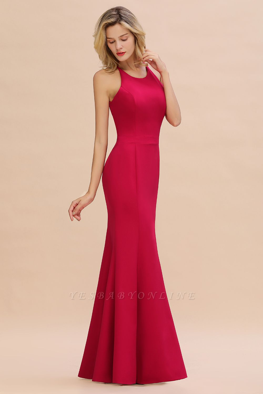 Sexy Red Halter Mermaid Prom Dress Long Evening Gowns Online