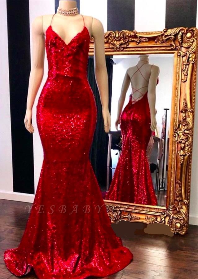 Sexy Spaghetti Straps V-neck Sequin Red Mermaid Prom Dresses