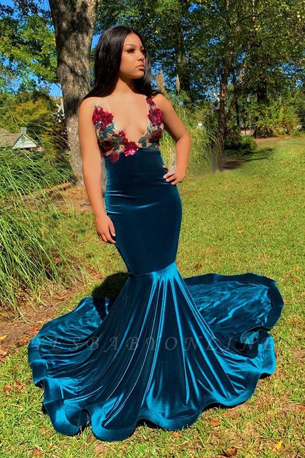 Straps V-neck Appliques Dark Blue Velvet Mermaid Prom Dresses