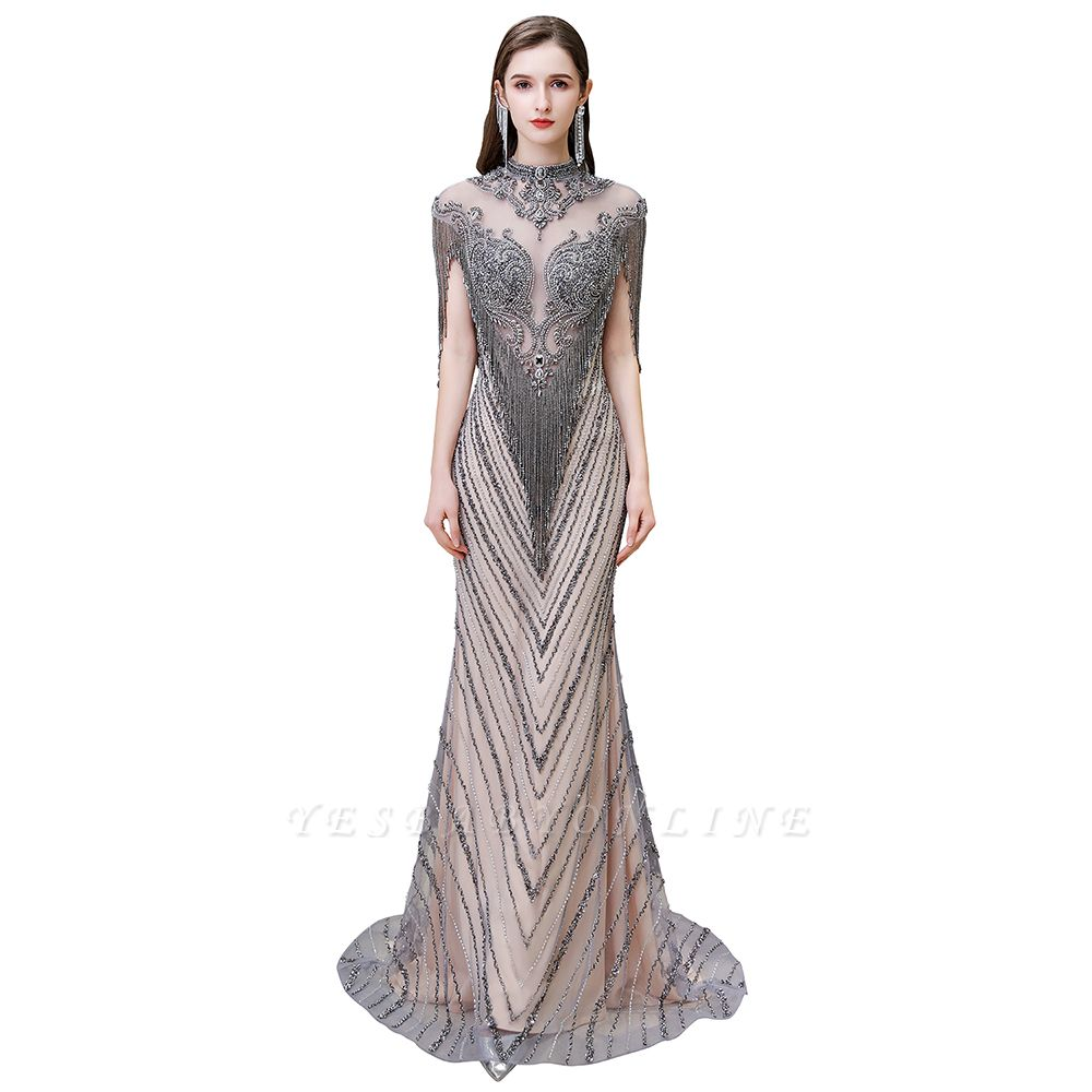 High Neck Short Sleeves Sheer Beaded Fitted Glittering Prom Dresses