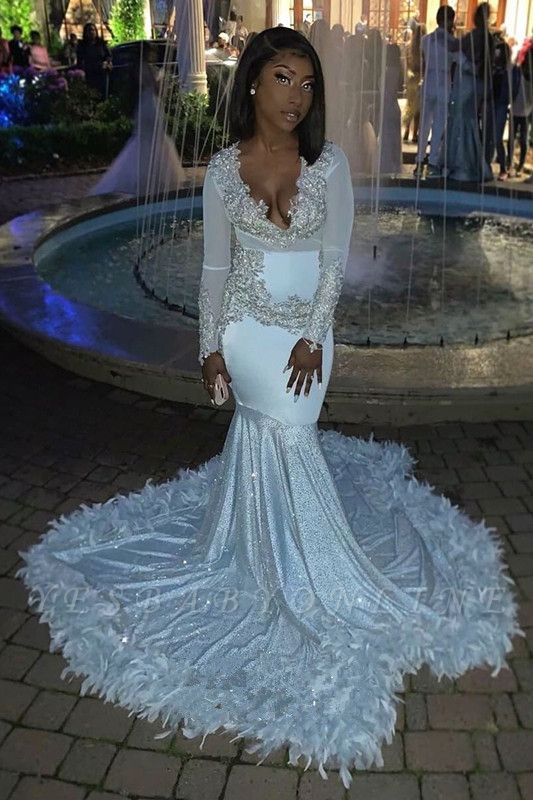 V-neck Long Sleeves Appliques Mermaid Feather Prom Dresses with Train