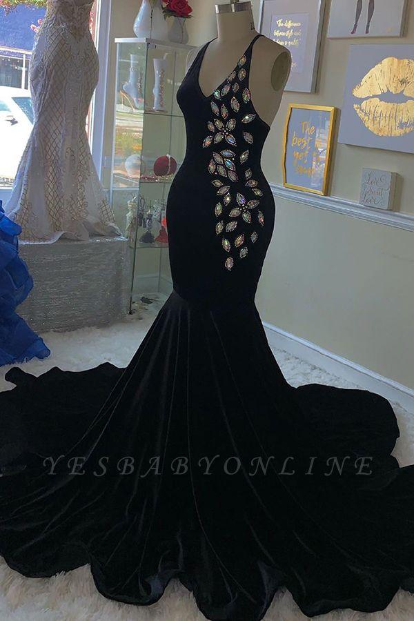 Spaghetti Straps V-neck Rhinestone Mermaid Black Velvet Prom Dresses