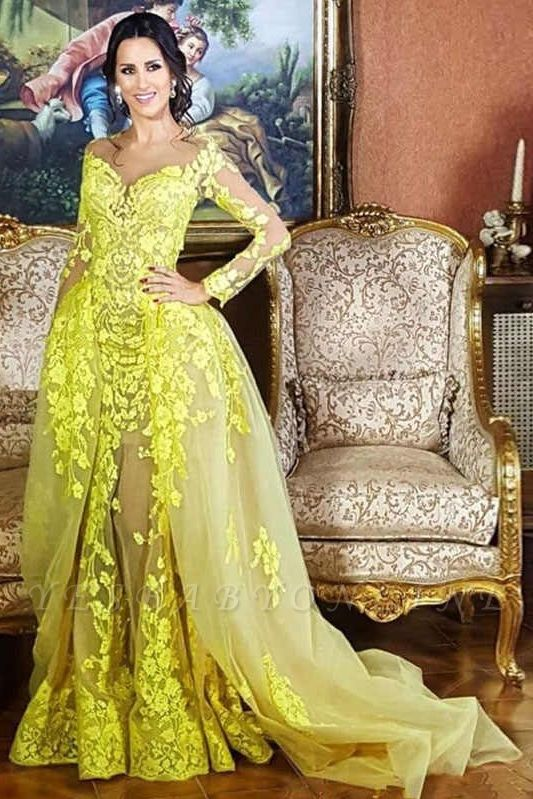 Jewel Long Sleeves Appliques Yellow Prom Dresses with Train