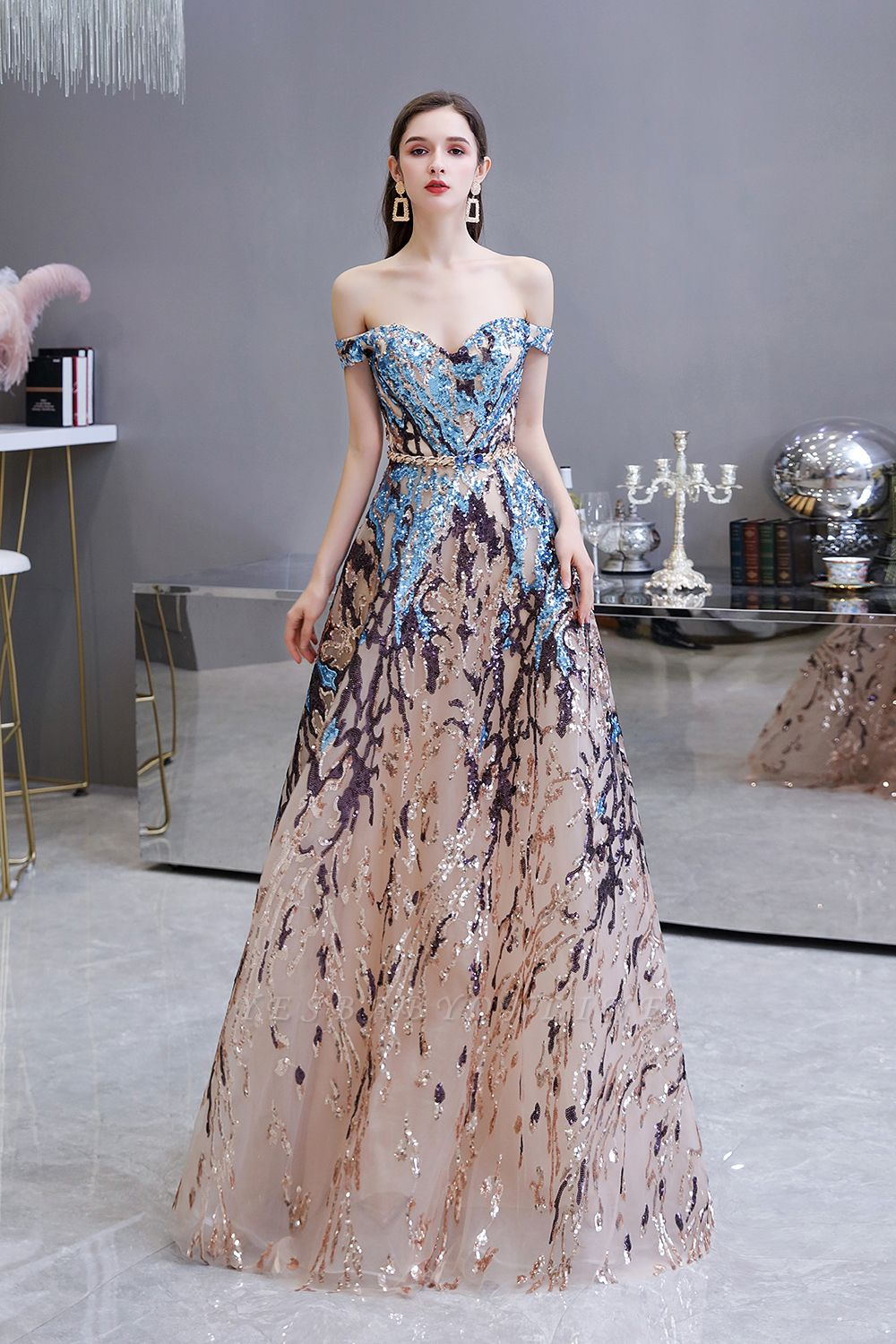 Off the Shoulder Sweetheart Beaded Belted Sparkly A-line Prom Dresses