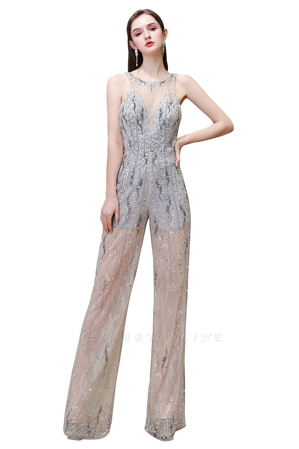 Round Neck Sleeveless Open Back Beaded Sparkly Prom Jumpsuit