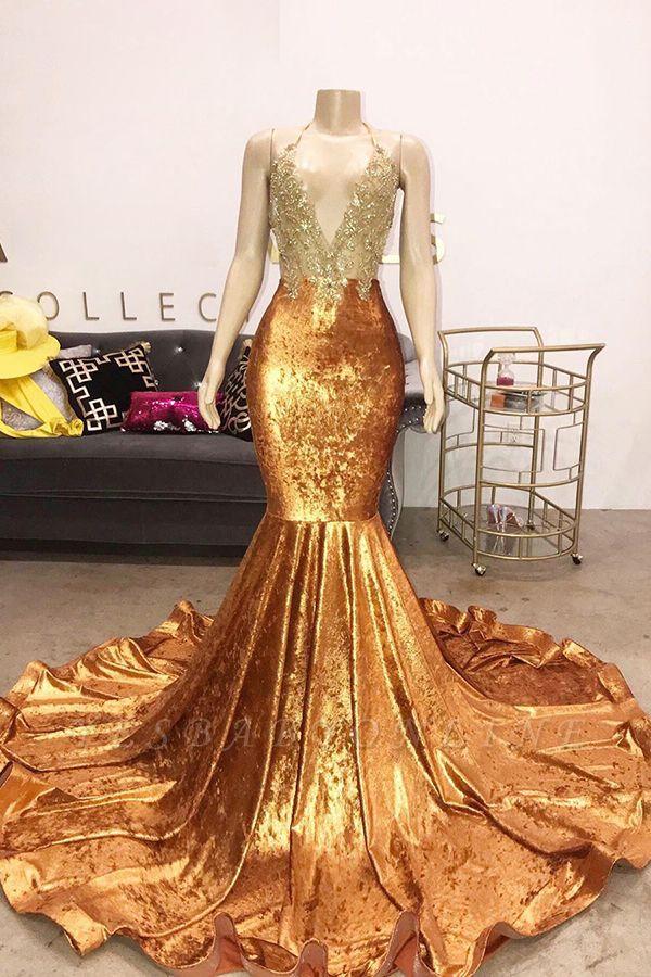 Spaghetti Straps V-neck Appliques Mermaid Velvet Orange Prom Dresses