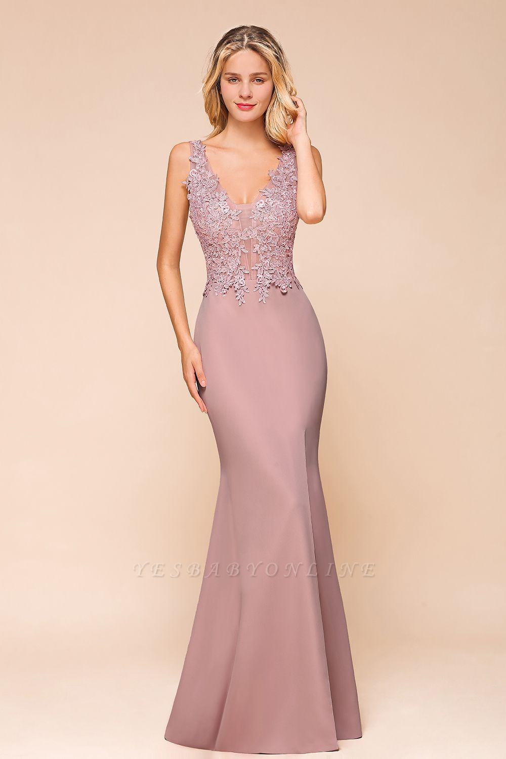 Dusty Pink Mermaid Lace Prom Dress Long Sleeveless Evening Gowns