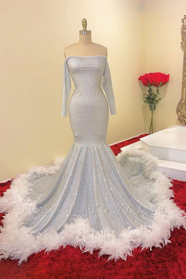 Off the Shoulder Long Sleeves Sequin Mermaid Prom Dresses with Fur