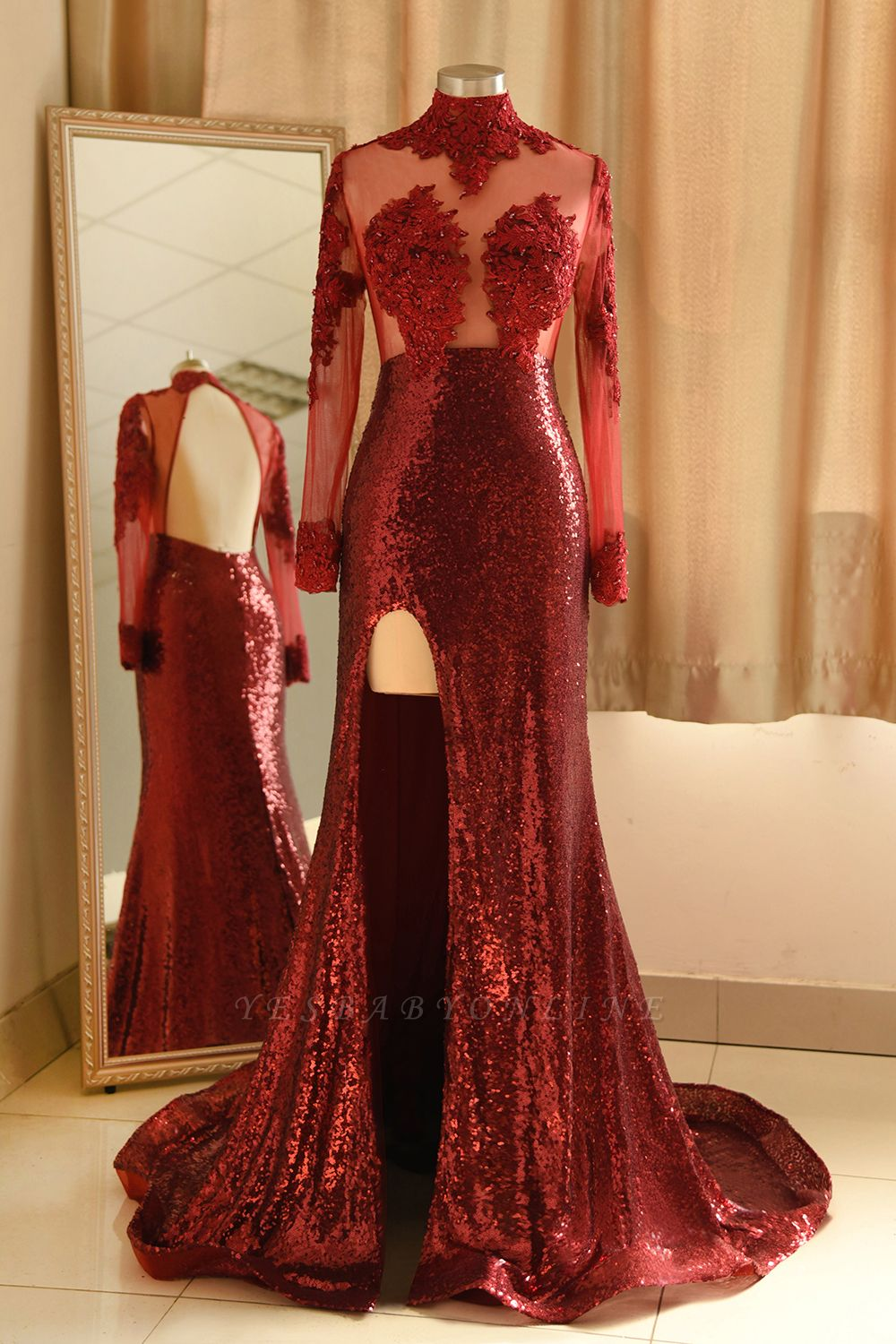 Burgundy High Neck Open Back Long Sleeve Applique Sequin Side Slit Sheath Prom Dresses