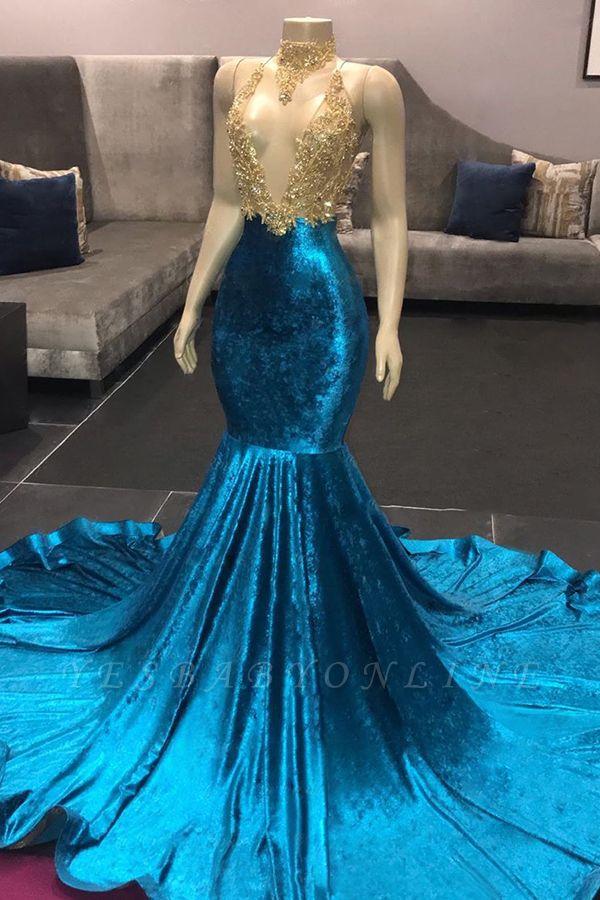 Spaghetti Straps V-neck Appliques Mermaid Velvet Royal Blue Prom Dresses