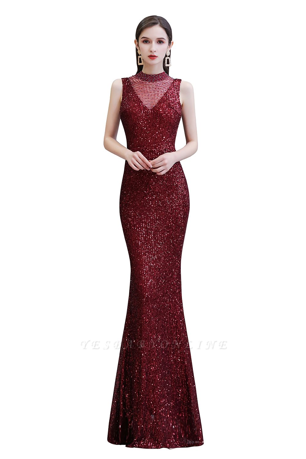 High Neck Sleeveless Floor Length Sparkly Sequin Fitted Prom Dresses