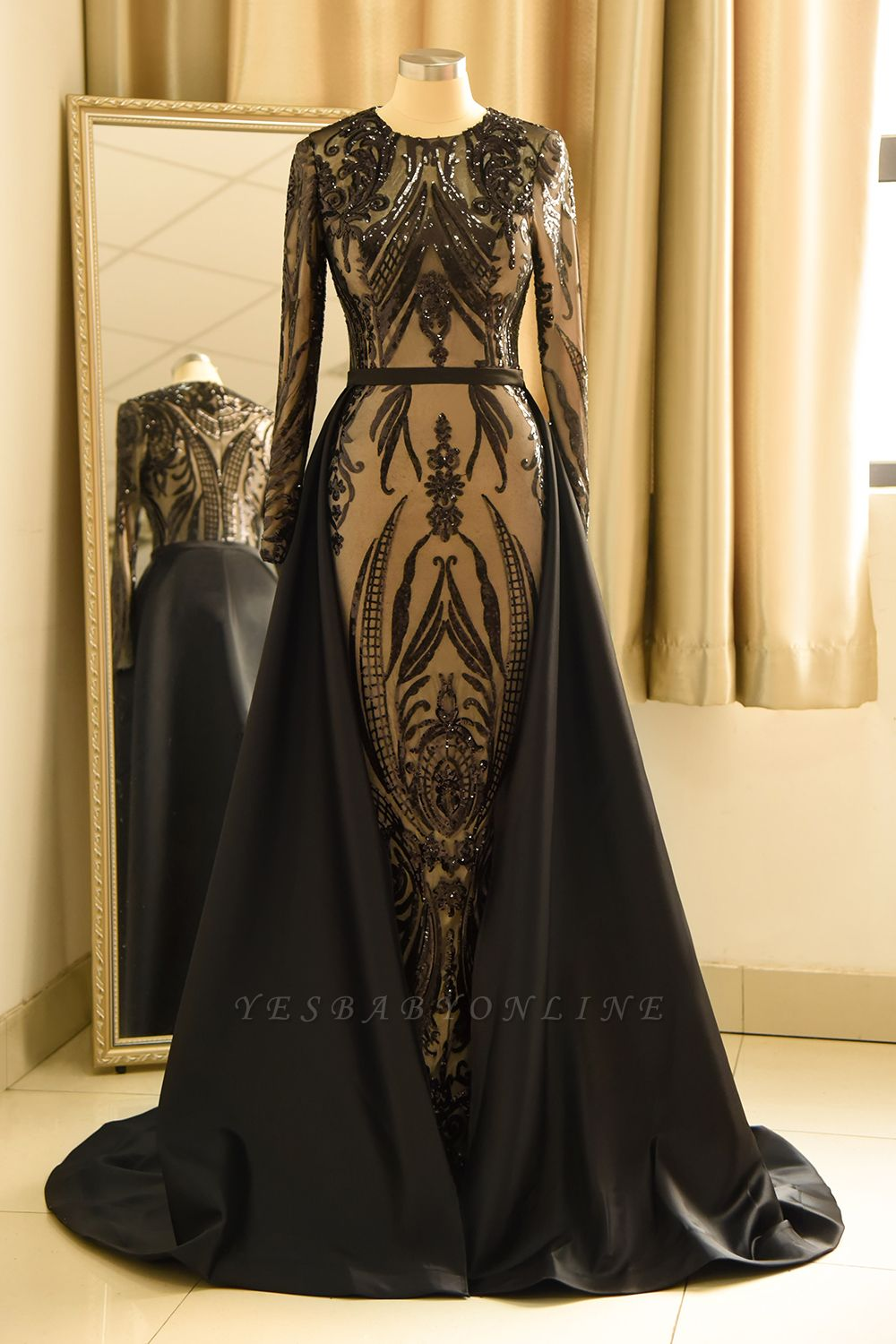 Black Jewel Long Sleeve Applique Sequin Sheath Prom Dresses With Detachable Skirt