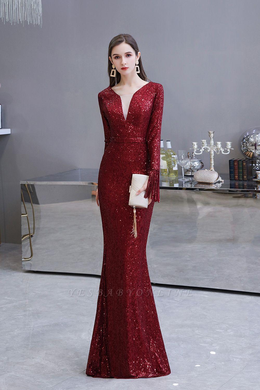 V-neck Long Sleeves Fitted Floor Length Burgundy Sequin Prom Dresses