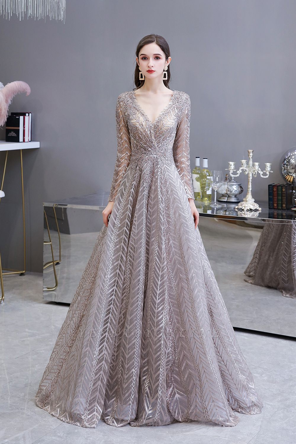 V-neck Long Sleeves Floor Length Lace A-line Gorgeous Prom Dresses