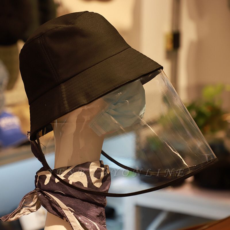 Bucket Hat With Mask Eye Protection Fishing Hat Cap Anti-pollen Mask Anti-saliva Cover Full Face Caps 2020 Safety Hat