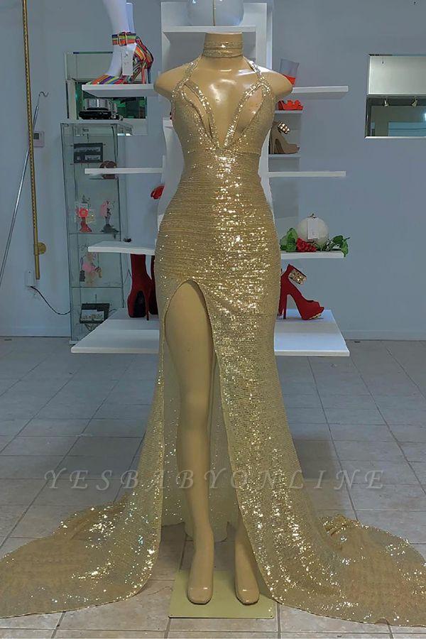 Halter Silver V-neck High Split Sequin Column Prom Dresses