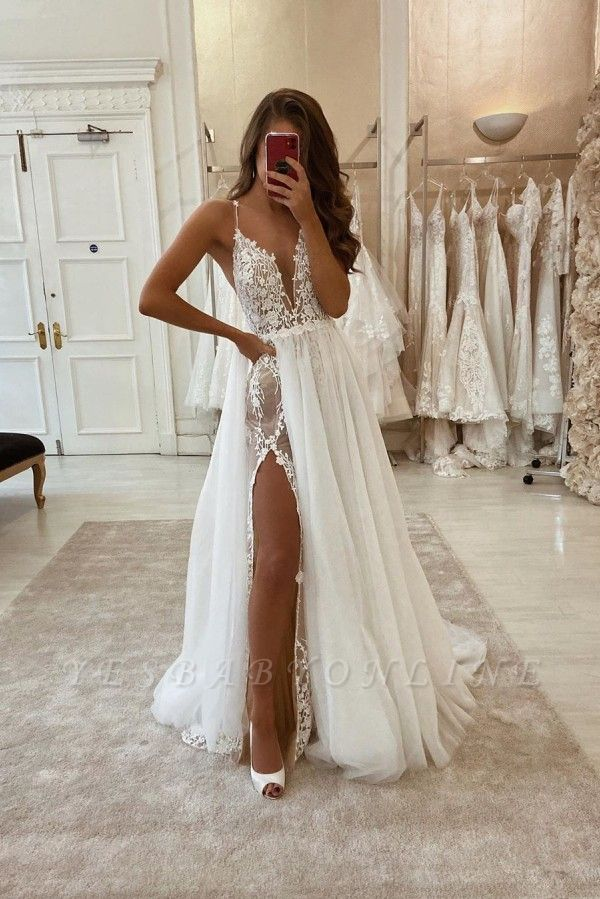 Spaghetti Straps V-neck Sexy Detachable Skirt Wedding Dresses