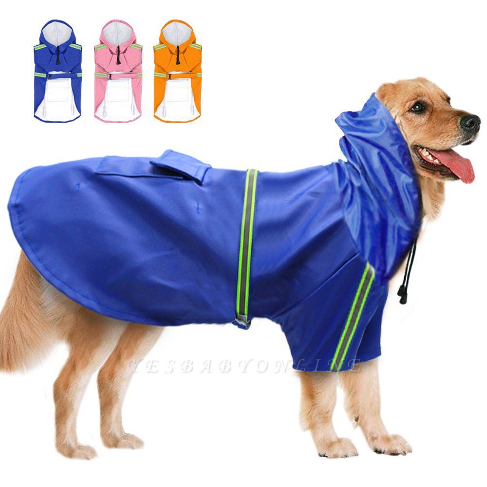 Blue Windproof Waterproof Hoody Covered Belly Large Dog Raincoat
