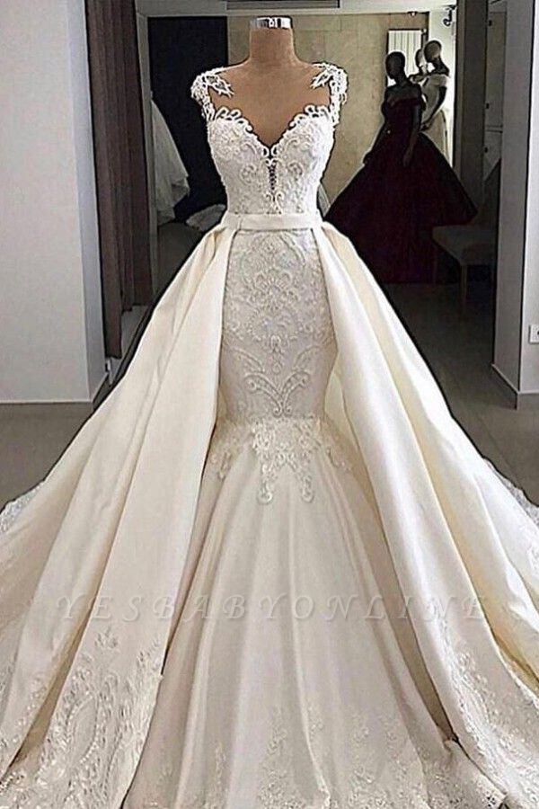 V-neck Cap Sleeves Lace Mermaid Detachable Skirt Overlay Wedding Dresses
