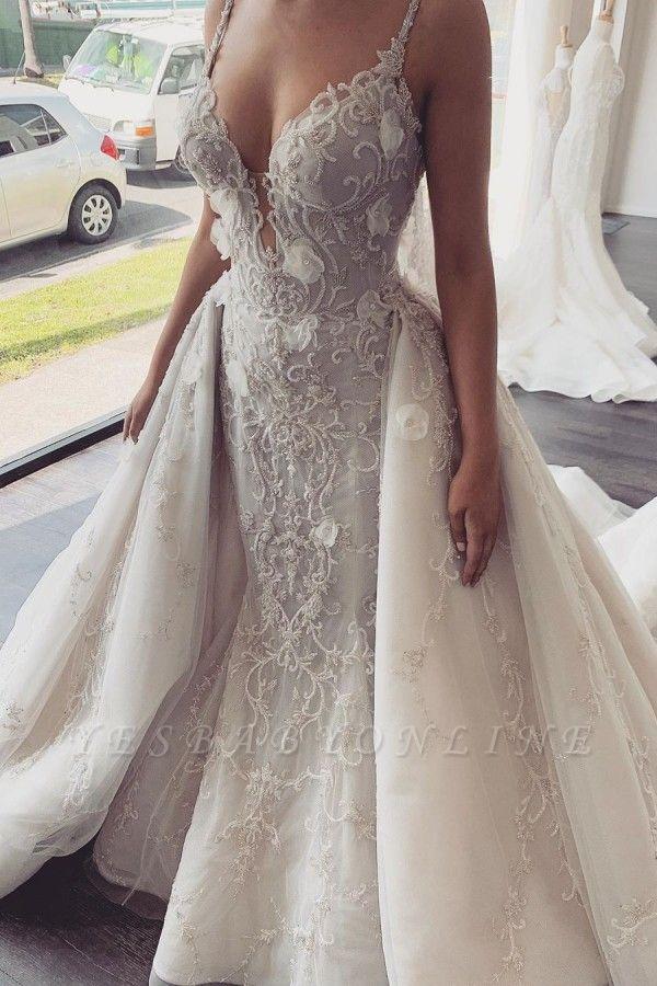 Spaghetti Straps V-neck Sexy Mermaid Wedding Dresses with Detachable Sparkle Overskirt
